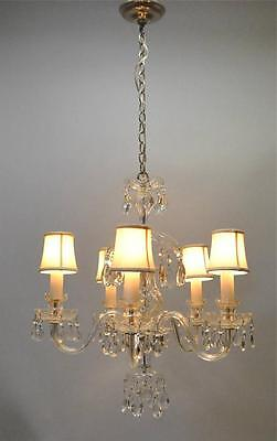 Vintage Cut Glass & Crystal Chandelier With Five Arms