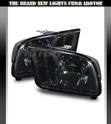 05-09 FORD MUSTANG SMOKE AFTERMARKET CRYSTAL Clear Headlights LAMPS LH RH New