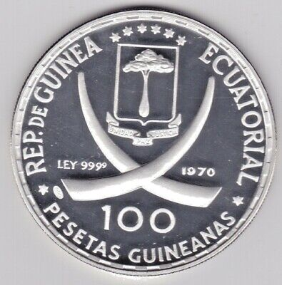 1970 Equatorial Guinea 100 Pesetas Silver Frosted Proof++