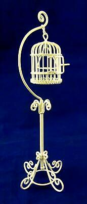 Dolls House Miniature Pet Accessory White Wire Wrought Iron Hanging Bird Cage
