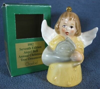 Goebel Annual Angel Bell Ornament 1982 French Horn Yellow Boxed West Germany Vtg