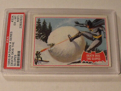 "1966 Topps BATMAN (A Series) Red Bat #22A ""Death Skis The Slopes"" - PSA 6 EX-MT"