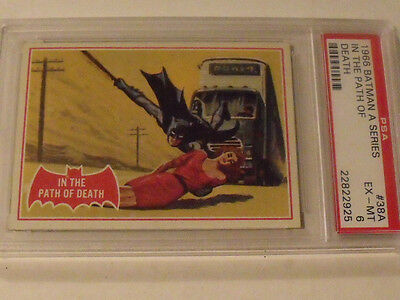 "1966 Topps BATMAN (A Series) Red Bat #38A ""In The Path Of Death"" - PSA 6 EX-MT"