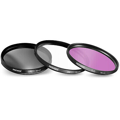NEEWER 55mm UV+CPL+FLD Filter Kit Set for CANON EOS Rebel
