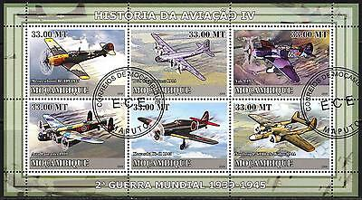 Mozambique 2009 History of Aviation (IV) Airplanes of WWII Sheet of 6 used