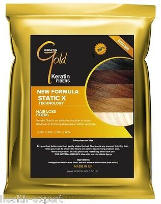 Keratin Gold™ 50g Dark Brown Hair Fibres Refill For Hair Loss Thickening