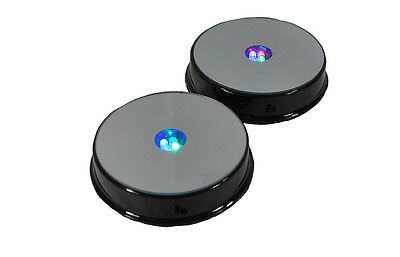 Merchandise Display Base, 4 LED Lighted, Mirrored Top, (Pack of 2) Black