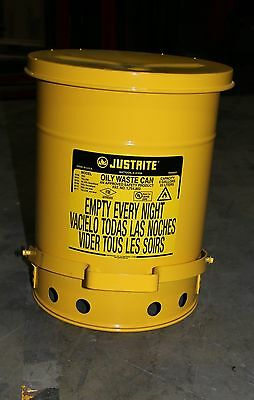 (1) Used Justrite 09101 Oily Waste Can 6 Gallon Capacity; Yellow