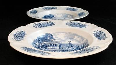 Johnson Brothers ROYAL HOMES OF BRITAIN BLUE 2 Large Rim Soup Bowls A+ CONDITION
