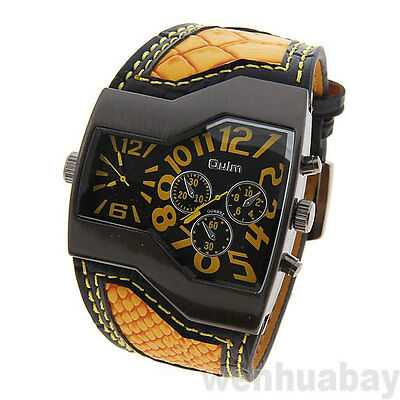 OULM Military Army Two Time Zones Yellow Sports Leather Watch Boy Men Gift Q0785