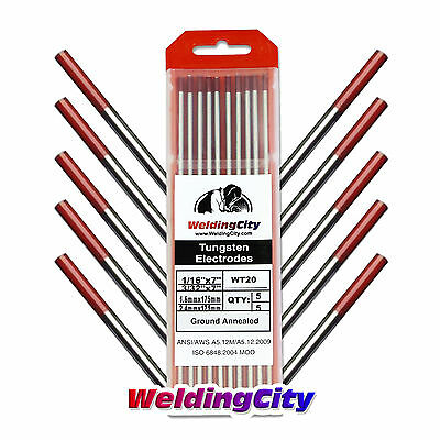 """10-pk TIG Welding Tungsten Electrode 2% Thoriated (Red) 1/16""""-3/32"""" 