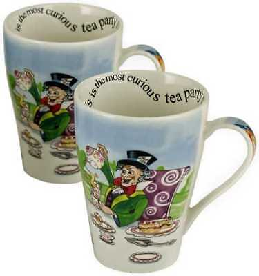 2 NEW Paul Cardew Alice in Wonderland Mad Hatter's Tea Party 15oz mug coffee cup