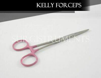 "PINK - 6 Kelly Hemostat Forceps 5.5"" Straight Surgical Dental Instruments"