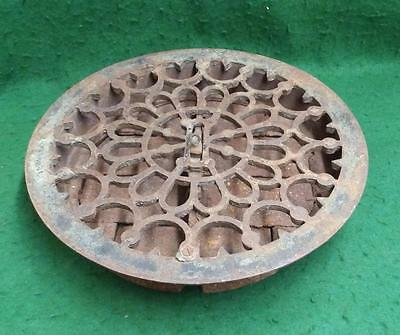 "Antique Cast Iron 13 1/2"" Round Floor Register, Heat Grate, Decorative 3383-14"