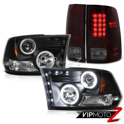 For 09-18 Dodge RAM Black CCFL Halo Projector Headlight+LED Red Smoke Tail Lamp