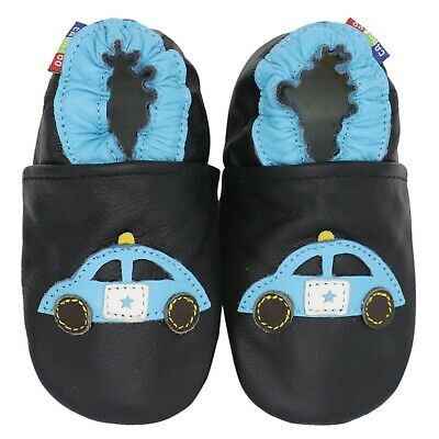 carozoo black police car 12-18m new soft sole leather baby shoes
