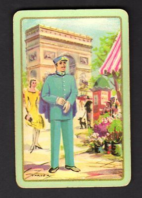 Vintage Swap/Playing Card - French Policeman signed
