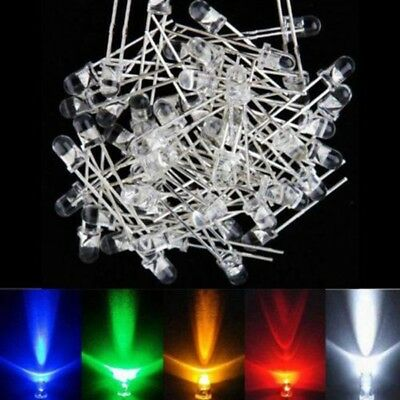 100pcs 3mm LED Red Green Blue Yellow White Ultra Bright Light Bulbs Lamp 8000mcd