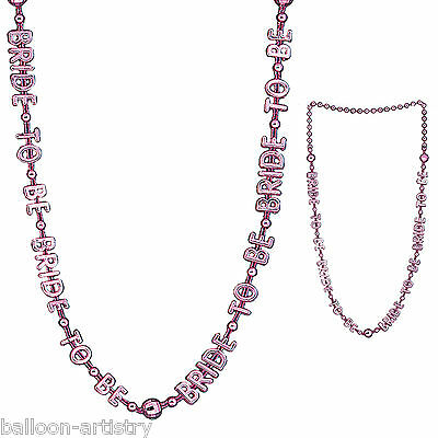 Hen Night Party BRIDE TO BE Pink Beaded Fancy Dress Necklace