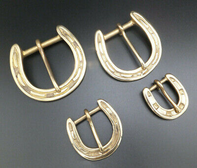 "EQUESTRIAN [ 3/4""-1.5"" ] Solid Brass HORSE SHOE Belt Buckle Leathercraft"