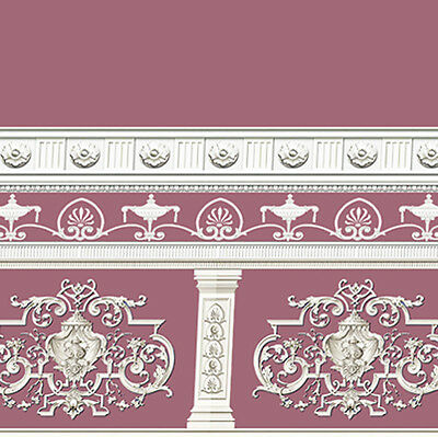 Dolls House Wallpaper Victorian 1/12th 1/24th scale Aubergine Quality Paper #250
