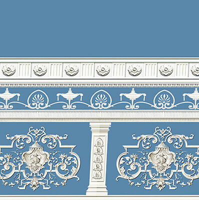 Dolls House Wallpaper Victorian 1/12th 1/24th scale Blue Quality Paper #251