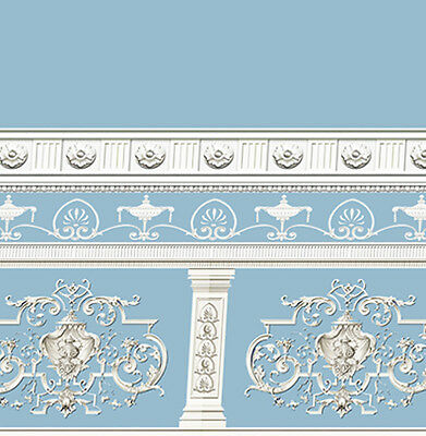Dolls House Wallpaper Victorian 1/12th 1/24th scale Blue Quality Paper #253