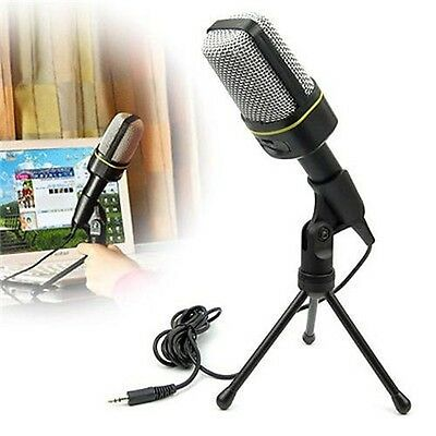 MSN Skype Singing Recording 3.5mm Condenser Microphone Mic For Laptop PC