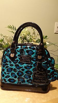 NWT Loungefly Hello KittyTurquoise Leopard MiniEmbossed Faux Patent Leather Bag