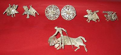 Vintage Mexico Jewell Brooch / Earrings / Cuffinks .925 Silver FREE SHIPPING
