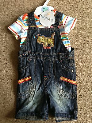 BNWT M&S Indigo LionTiger Denim Short Dungarees & T-Shirt Set 9-12 Months