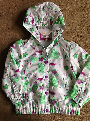 BNWT M&S White Pink Green Floral Hooded Raincoat Jacket Anorak 3-4 Years