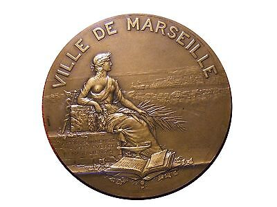 Art Nouveau city of Marseille half naked woman seated medal by GUSTAVE MART/ M35