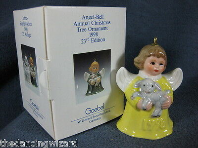 Goebel Annual Angel Bell Ornament 1998 Lamb Yellow Boxed Germany