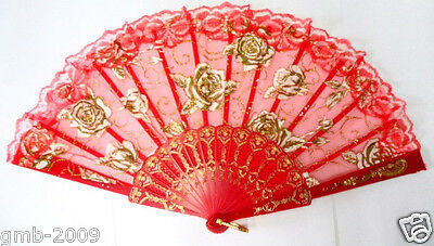 Hand Held Embroidered Golden Rose Flower Lace Folding Red Wedding Favor Fan