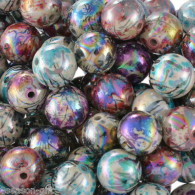 """100PCs Acrylic Charm Spacer Beads AB Color Pattern Round Mixed 12mm( 4/8"""")Dia."""