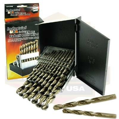 Cobalt Metal Drill Bit 29pc Set 135 Degree Multi w/ Index Box Made in USA NEW