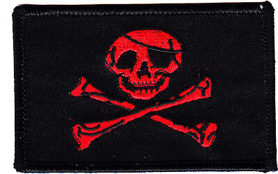 PIRATE FLAG w/SKULL & CROSSBONES,Black w/Red, Jolly Roger/Iron On Applique Patch