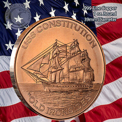"""""""USS Constitution"""" 1 oz .999 Copper Round """"Old Iron Sides"""""""