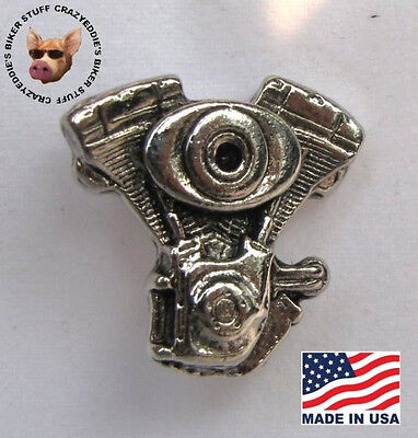 V Twin Engine Vest Pin  * Made In The Usa * Motorcycle Biker Jacket Pin