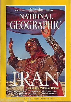 National Geographic July 1999 Iran Mars on Earth Hornbills Color Humpback Whales