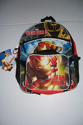 "Marvel Iron Man 3  Boys 16"" School Backpack With Lunch Bag Nwt!"