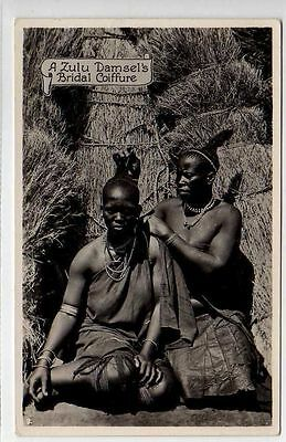 (Ly040-388)  Real Photo of A Zulu Damsels Bridal Coiffure, Unused  G-VG