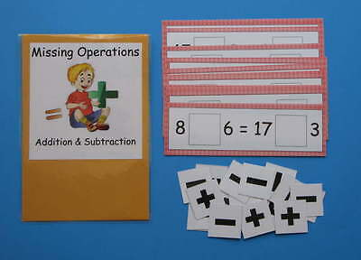 Teacher Made Math Center Resource Game Missing Operations Addition & Subtraction