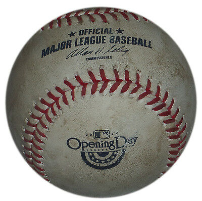 Opening Day 2014 Game Used Ball Phillies @ Rangers Revere Rbi Single Scheppers