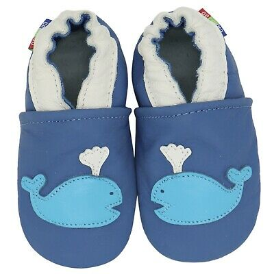 carozoo whale blue 12-18m soft sole leather baby shoes