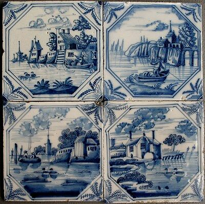 4 rare Antique Dutch delft delftware landscape river scene tiles carreau  c.1750