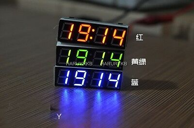 Digital led Electronic Time Clock + Thermometer + Voltmeter for 12v 24V car auto