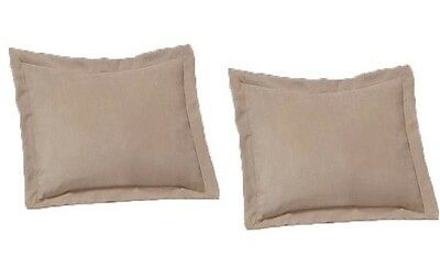 2 Piece King Size Shams Solid Beige Cover Case Micro Suede Decorative Pillow