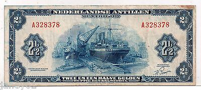 ~ NETHERLAND ANTILLES  2 1/2 Gulden Banknote - PA1a - 1955 ~
